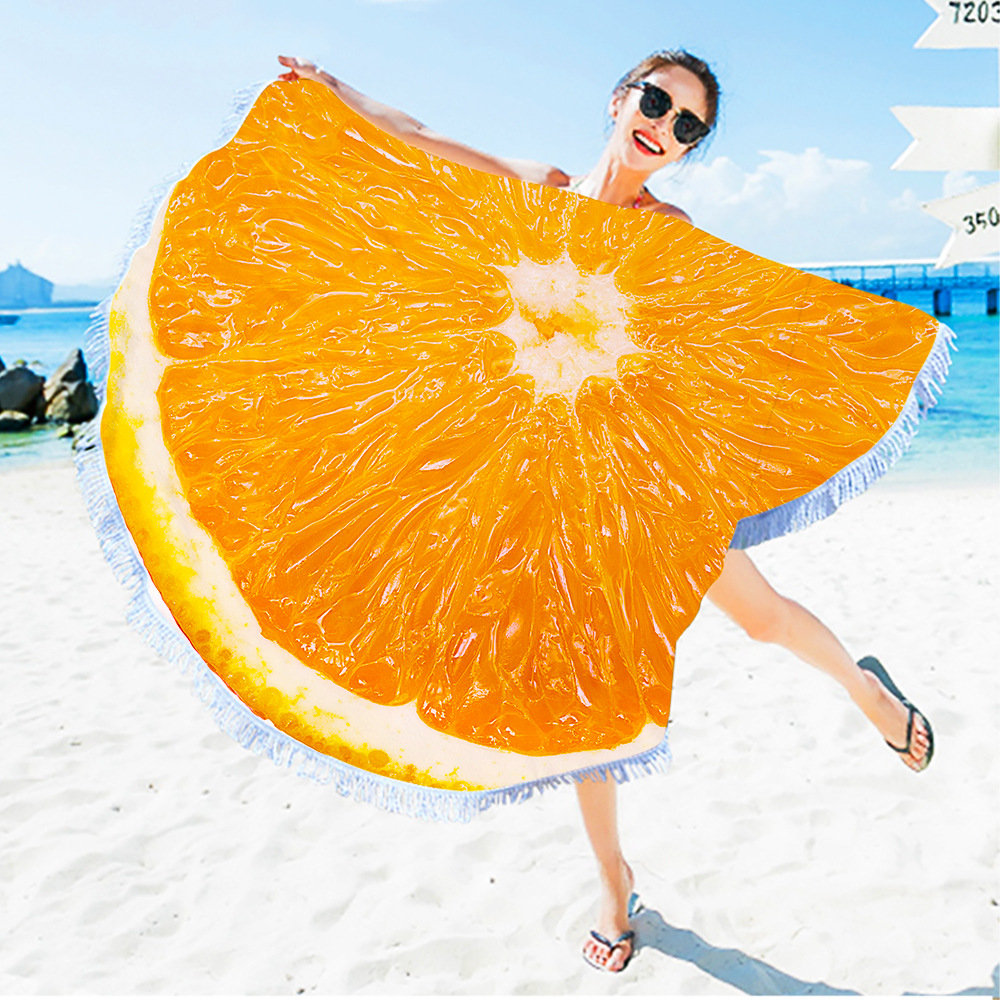 Creative Colorful Summer Fruits Printed Tassels Beach Towels Round Microfiber Towels