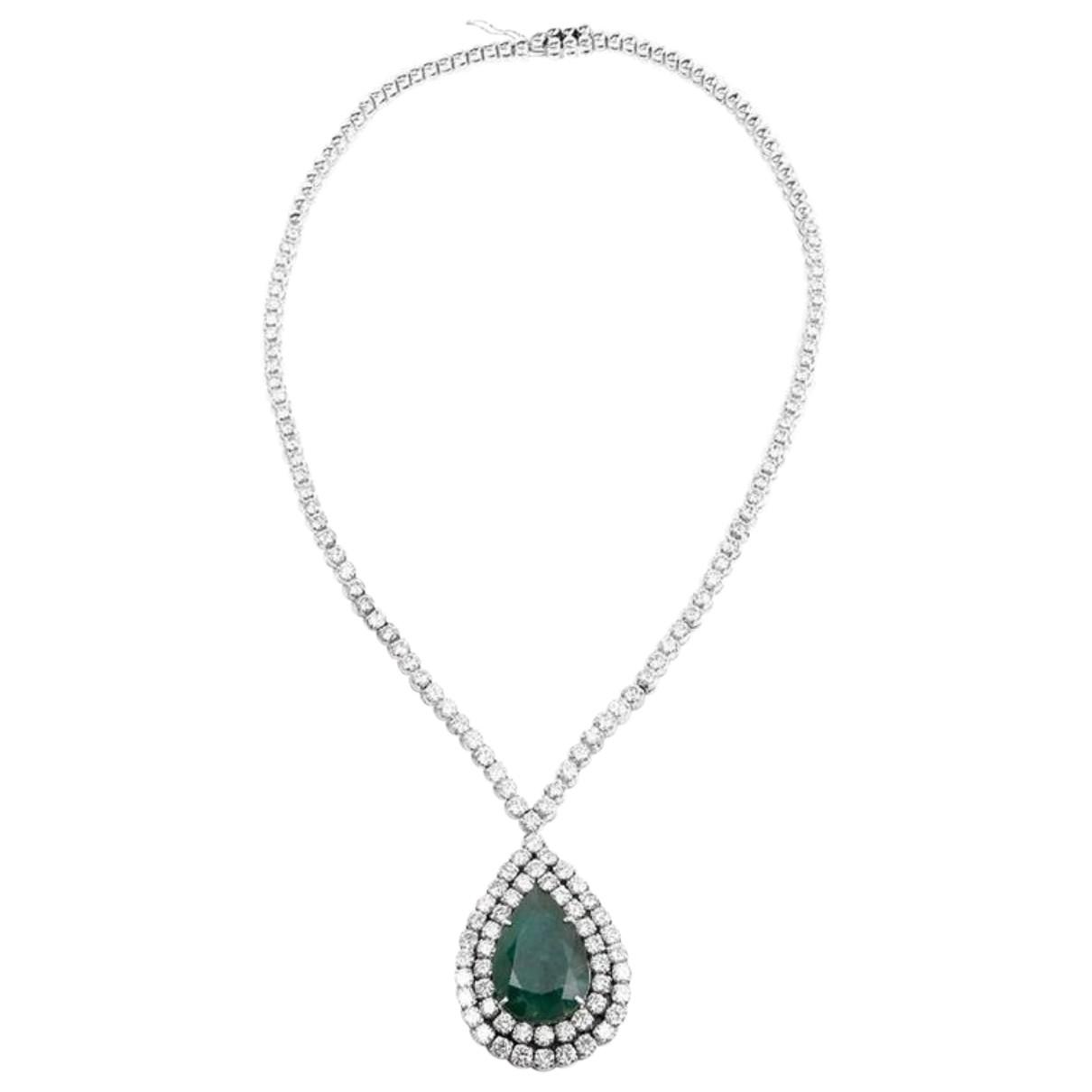 - Collier Emeraude pour femme en or blanc - vert