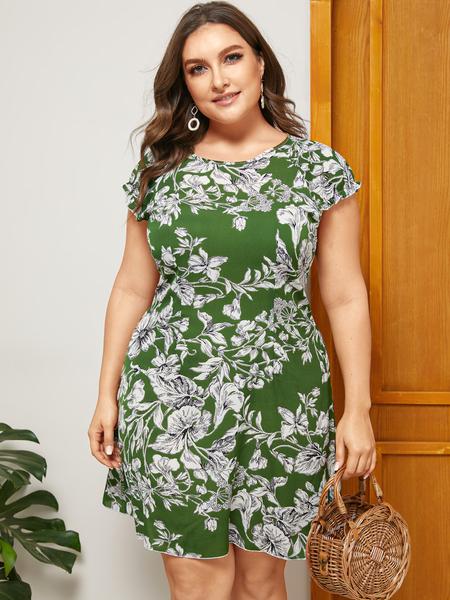Yoins Plus Size Floral Print Round Neck Short Sleeves Dress