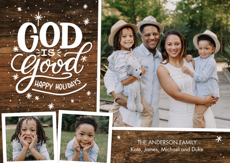 Christmas Photo Cards 5x7 Cards, Premium Cardstock 120lb with Elegant Corners, Card & Stationery -Christmas God is Good Snapshots by Tumbalina