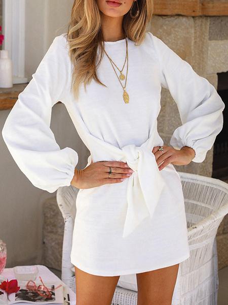 Milanoo T Shirt Dresses White Long Sleeves Jewel Neck Knotted Mini Dress