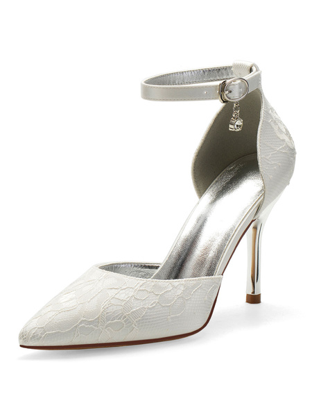 Milanoo High Heel Wedding Shoes Lace Champagne Pointed Toe Rhinestones Ankle Strap Bridal Shoes