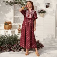 Tassel Tie Tribal Print Smock Dress