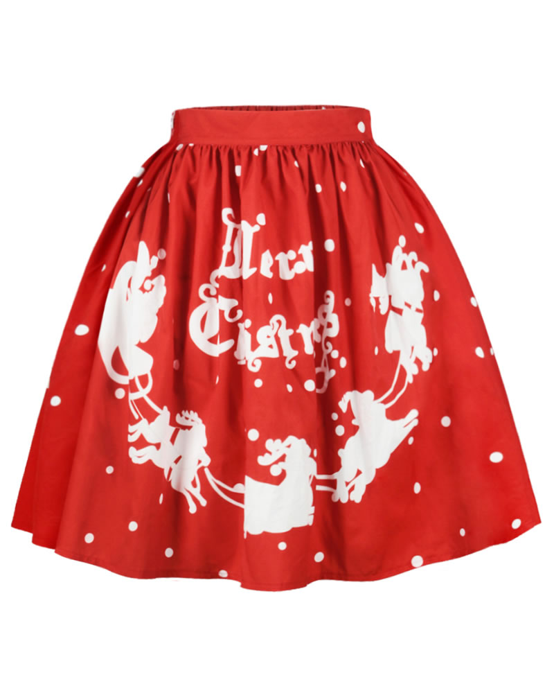 Ball Gown Pleated Knee-Length Stretchy Printed Midi Skirt