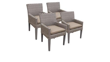 Florence Collection FLORENCE-TKC297b-DC-2x-C-WHEAT 4 Dining Chairs With Arms - Grey and Wheat