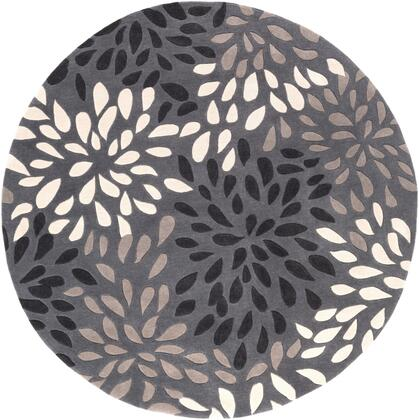 Cosmopolitan COS-9263 8' Round Modern Rug in Charcoal  Black  Taupe