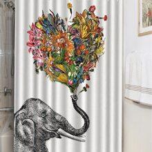 Duschvorhang mit Elefant & Blumen Muster 1 Stueck
