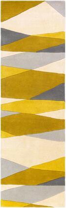 Forum FM-7203 3' x 12' Runner Modern Rug in Cream  Lime  Mustard  Medium Gray
