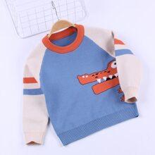 Pullover mit Krokodil Muster, Kontrast und Raglanaermeln
