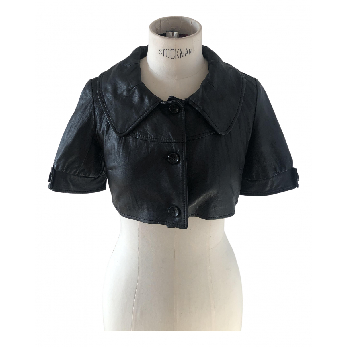 Non Signé / Unsigned Manche ballon Black Leather Leather jacket for Women 42 IT