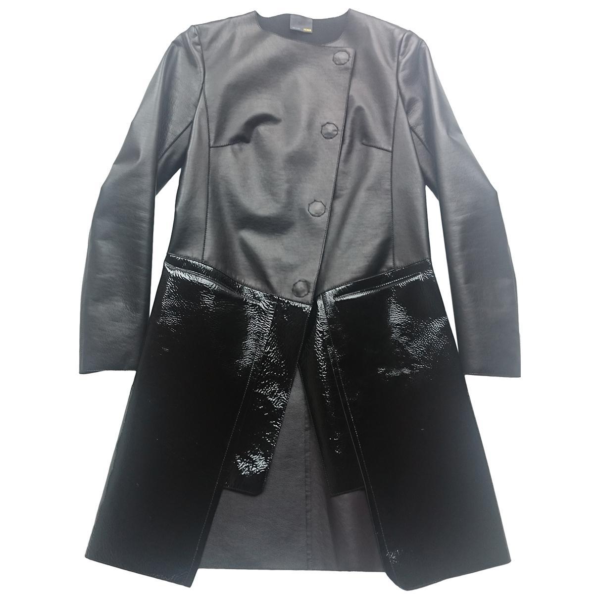 Fendi \N Black Leather coat for Women 38 IT