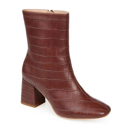 Journee Collection Womens Trevi Booties Block Heel, 6 1/2 Medium, Brown