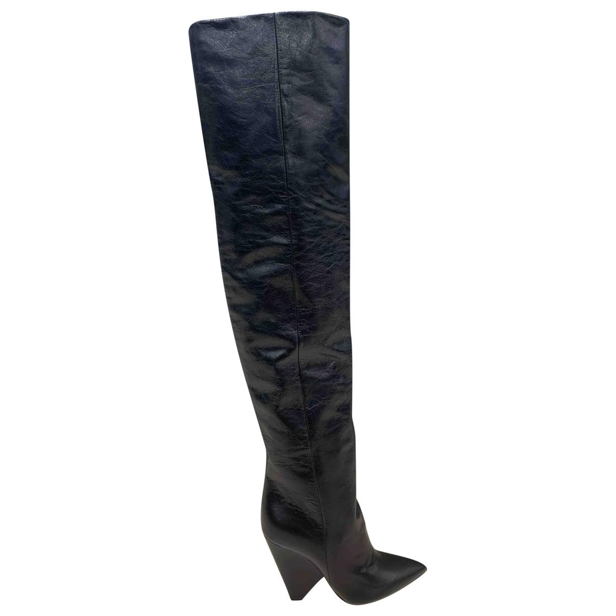 Saint Laurent Niki Black Leather Ankle boots for Women 36.5 EU