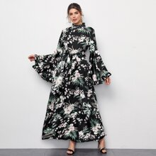 Flounce Sleeve Frill Trim Self Belted Tropical Print Dress
