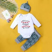 Baby Girl 3pcs Slogan Graphic Bodysuit & Plaid Sweatpants & Hat