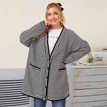 Mantel mit Hahnentritt & Streifen Muster und zwei Taschen