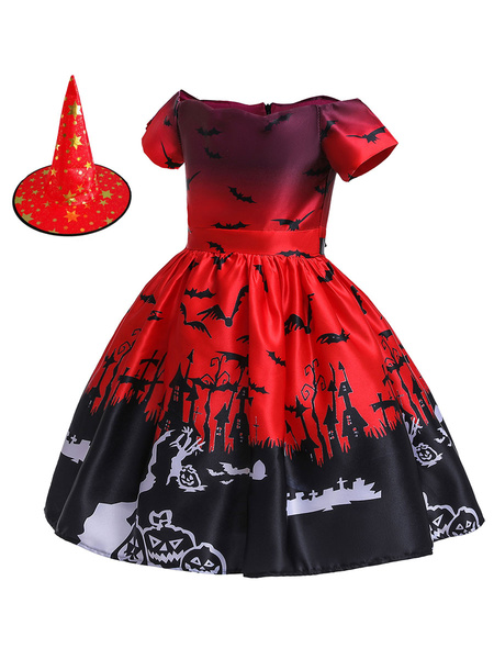 Milanoo Halloween Costumes For Kids Castle Bat Oragnge Red Skater Dress