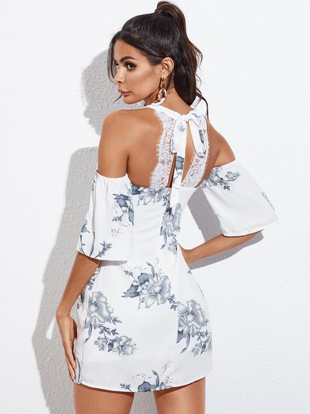 YOINS Lace Patchwork Random Floral Print Backless Cold Shoulder Dress