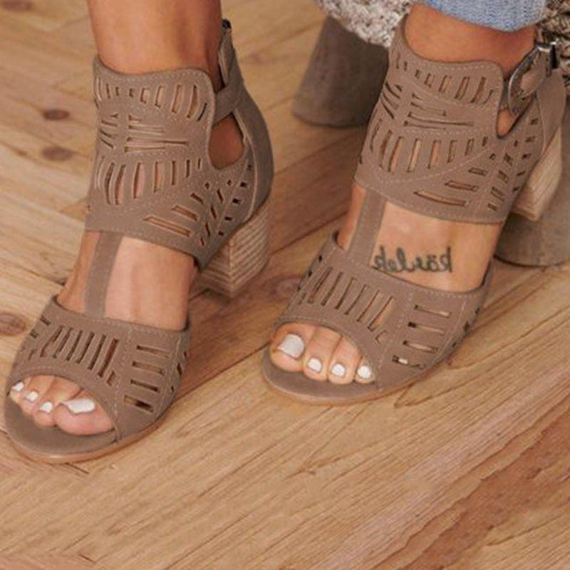 Ericdress Plain Zipper Chunky Heel Women's Casual Sandals