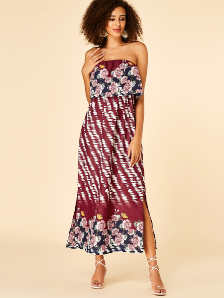 YOINS Burgundy Double Layer Floral Print Off The Shoulder Dress