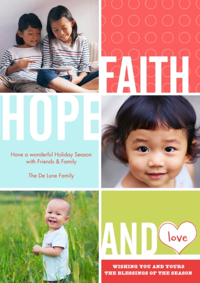 Christmas Photo Cards 5x7 Cards, Premium Cardstock 120lb with Scalloped Corners, Card & Stationery -Faith, Hope & Love