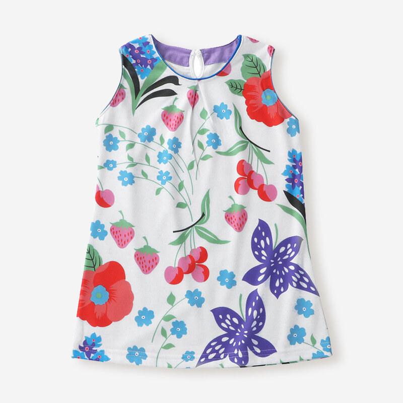 Girl's Floral Print Sleeveless O-neck Casual Dress For 1-7Y