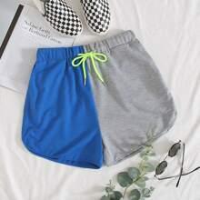 Two Tone Drawstring Waist Shorts