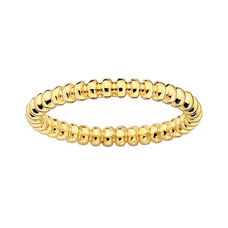 Personally Stackable 18K Yellow Gold Over Sterling Silver 3.5mm Beaded Ring, 9 , No Color Family