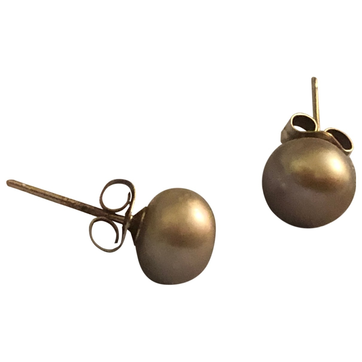 Non Signé / Unsigned Nacre Silver Pearl Earrings for Women \N