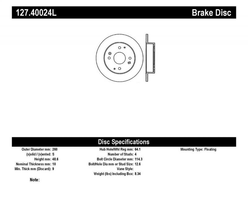 StopTech 127.40024L Sport Drilled/Slotted Brake Rotor; Rear Left Rear Left