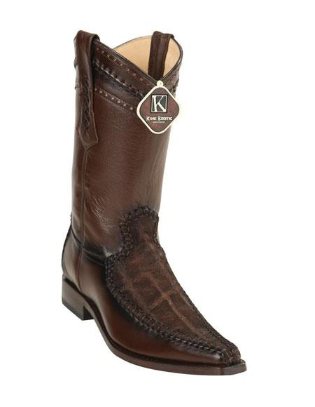 Men's King Exotic European Toe Genuine Elephant Skin Brown Boots