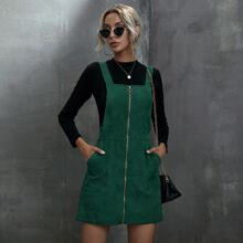 O-ring Zipper Corduroy Overall Dress