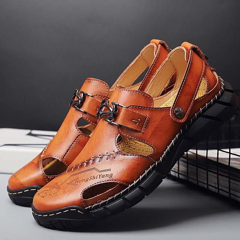 Men Classic Hand Stitching Comfort Outdoor Non Slip Soft Hole Leather Sandals