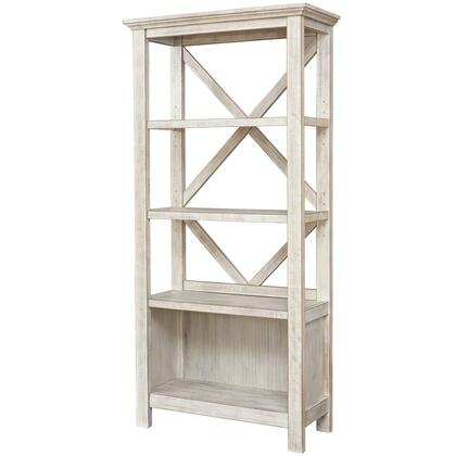 BM209264 X Shape Back Bookcase with 3 Open Shelves and 1 Open Compartment