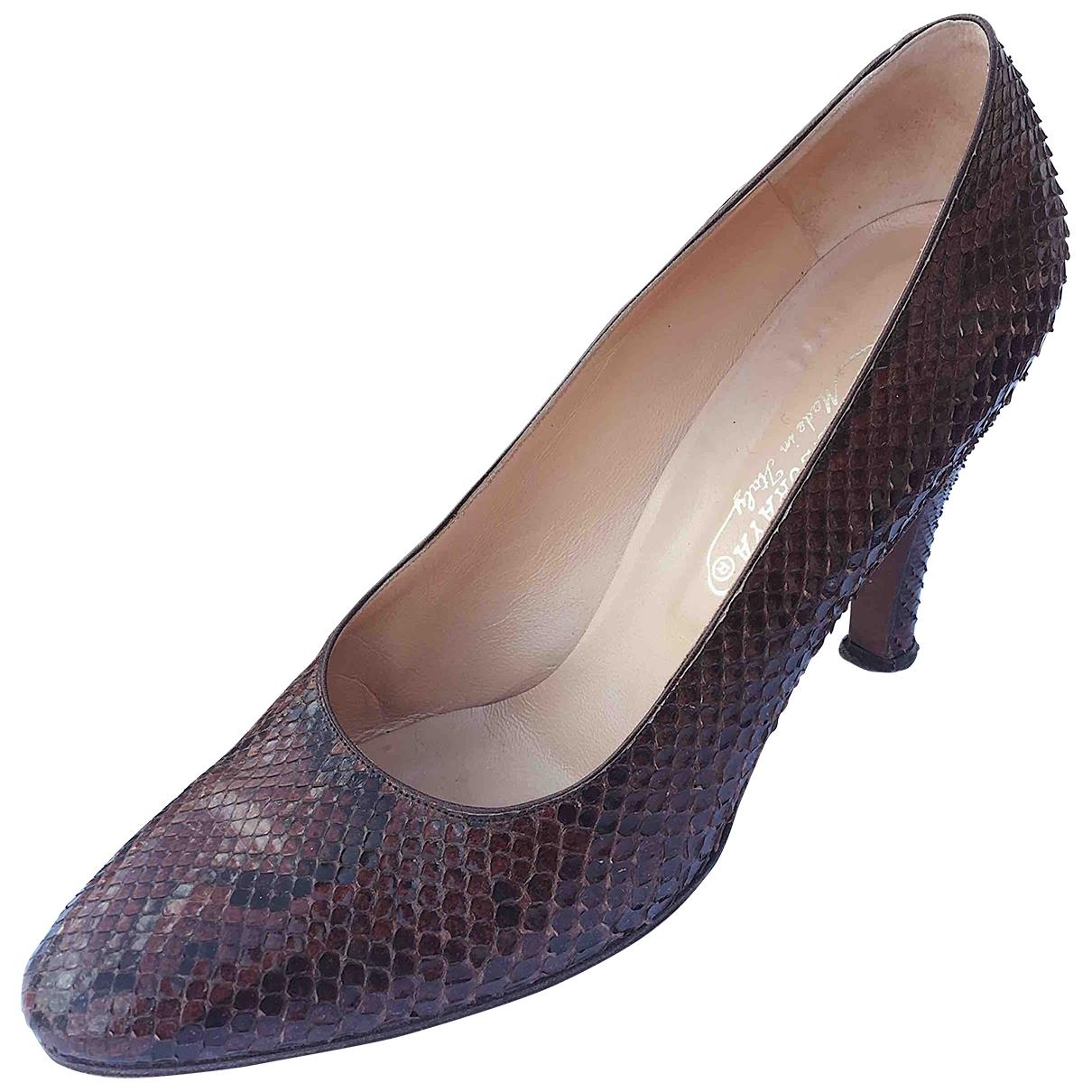 - Escarpins   pour femme en python - marron