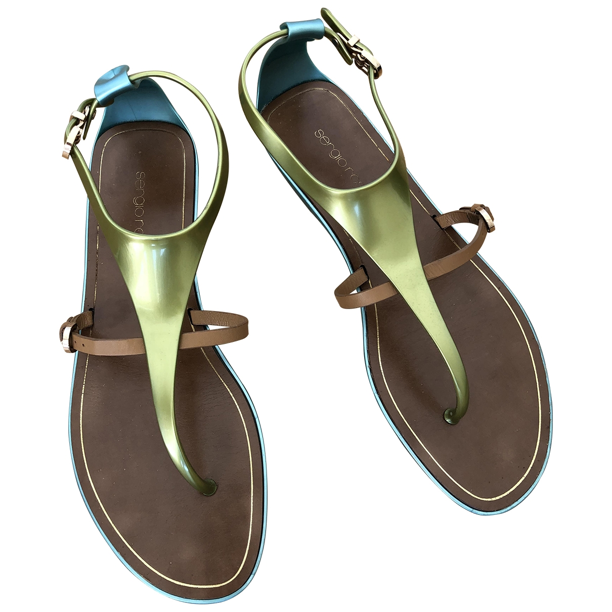 Sergio Rossi \N Green Leather Sandals for Women 39 EU