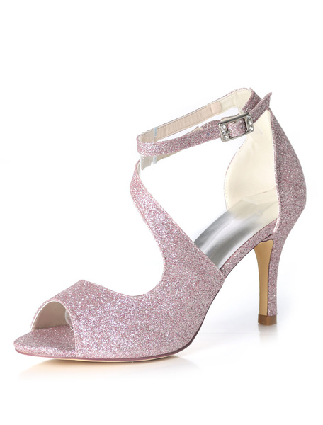 Milanoo Glitter Prom Shoes High Heel Wedding Shoes Purple Peep Toe Strappy Bridal Shoes