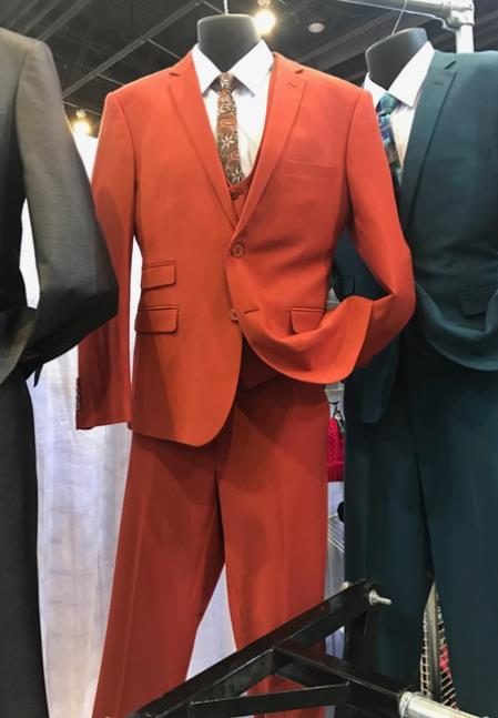 Mens Vittorio St Angelo Hot Red 2 Button Suit