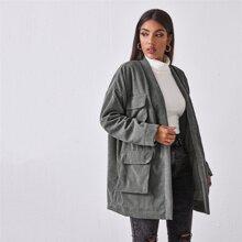Patch Pocket Drop Shoulder Corduroy Coat