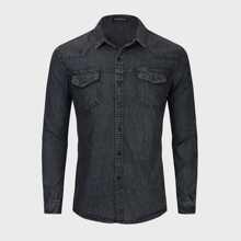 Guys Flap Pockets Button Up Denim Shirt