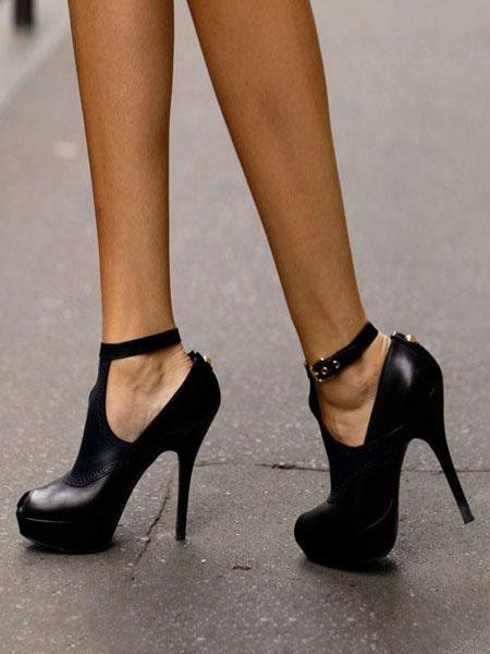 Milanoo Negro de Tacon Altos Peep Punta con Plataforma  Tobillo Correa Pumps Talla extra Mujer Zapatos 2020