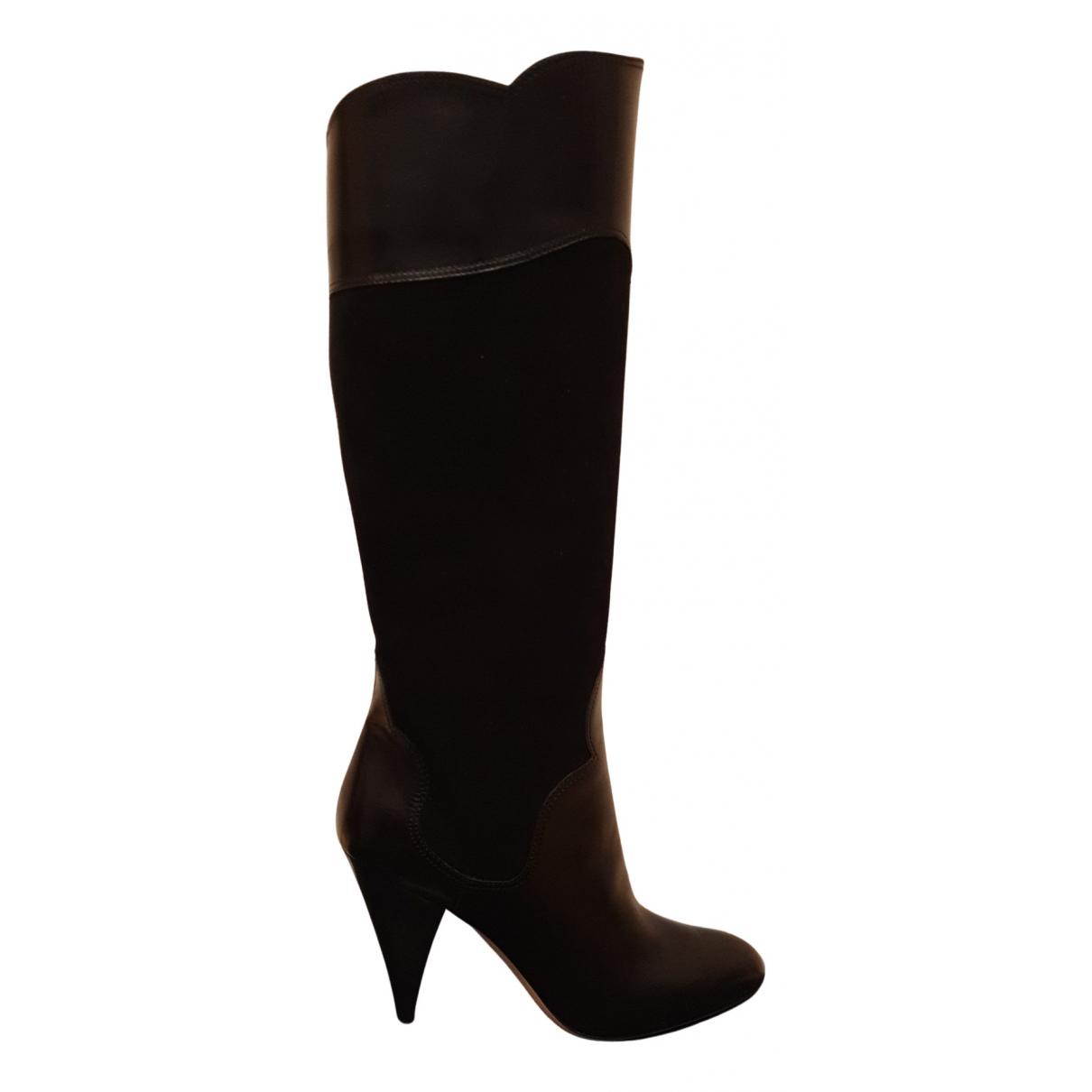 Oscar De La Renta N Black Suede Boots for Women 37.5 EU