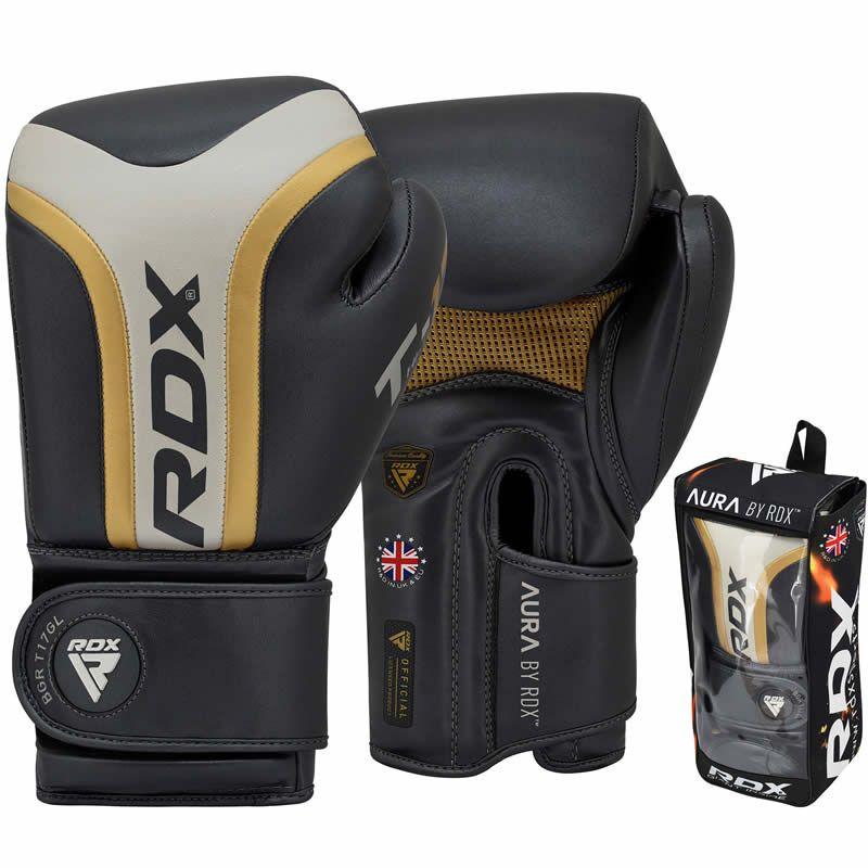 RDX T17 Boxen Sparring Handschuhe PU Haken und Schleife 12oz Gold/Blau/Weiss
