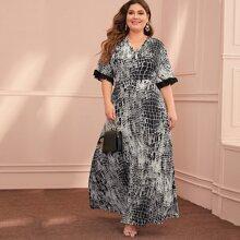 Plus Snakeskin Print Contrast Mesh A-line Dress