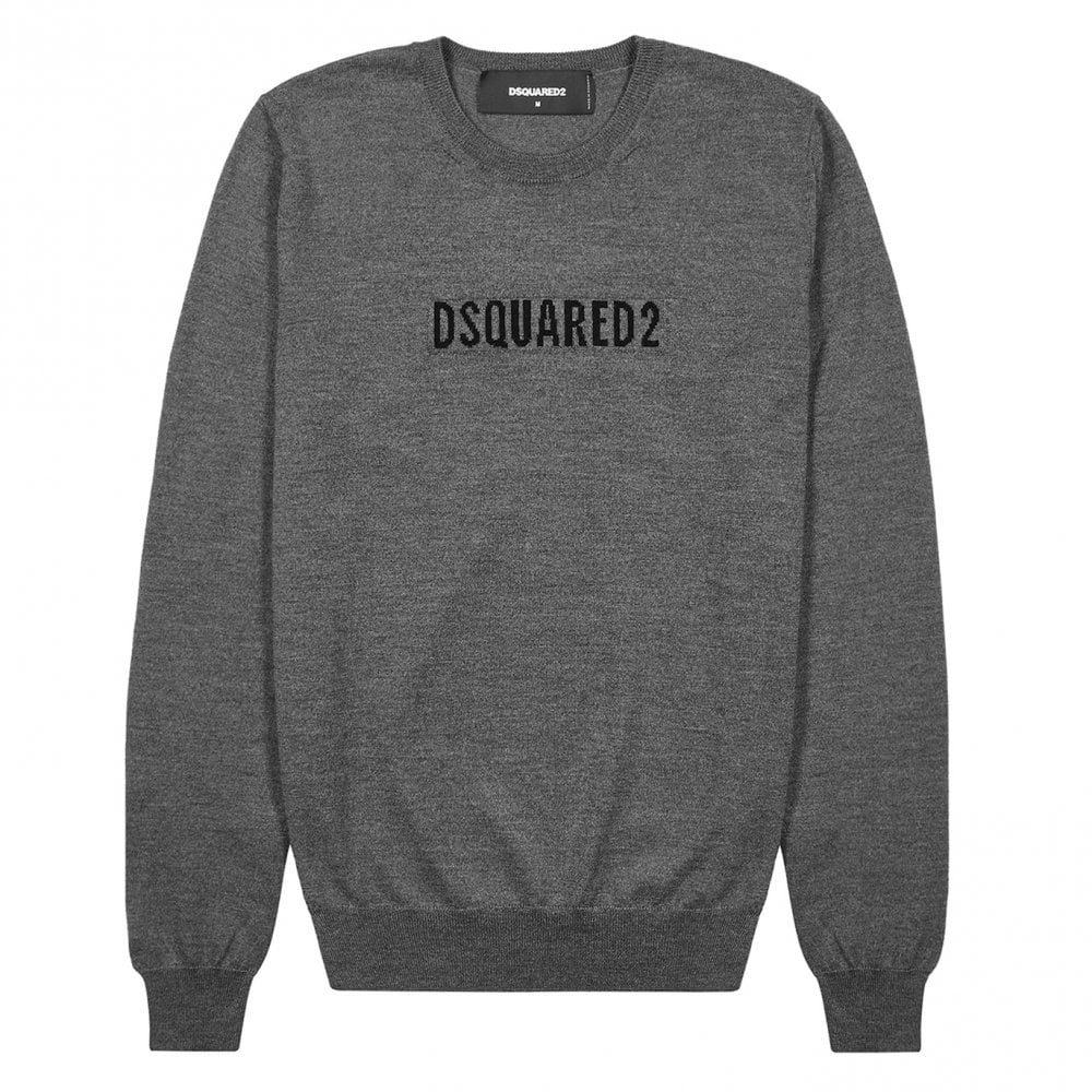 Dsquared2 Knitted Logo Jumper Colour: GREY, Size: EXTRA LARGE