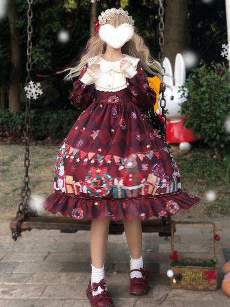 Milanoo Sweet Lolita OP Dress Christmas Bear Long Sleeves Lolita One Piece Dresses