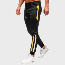 Men Side Stripe Drawstring Waist Sweatpants