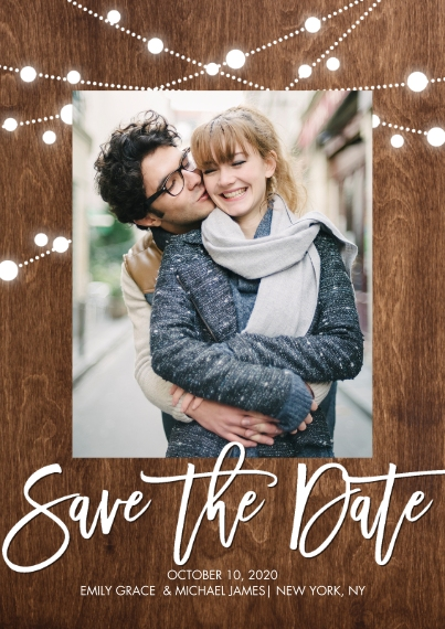 Save the Date 5x7 Cards, Premium Cardstock 120lb with Rounded Corners, Card & Stationery -Save the Date Shining Lights by Tumbalina
