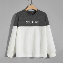 Pullover mit Farbblock und Buchstaben Grafik