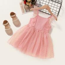Toddler Girls Swiss Dot Ruffle Mesh A-line Dress